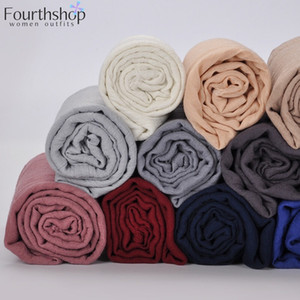 2019 Moda feminina muçulmana dobra Hijab Scarf Feminino algodão macio véu islâmico árabe hijabs xales e Wraps 180x90cm