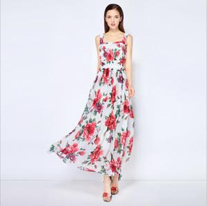 여성의 활주로 드레스 스파게티 스트랩 꽃 프린트 프릴이 패션 하이 스트리트 캐주얼 롱 드레스