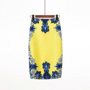 2019 여성용 연필 스커트 꽃 무늬 프린트 스커트 긴 섹시한 스커트 여름 의류 플러스 사이즈 S M L XL XXL 블랙 핑크 블루