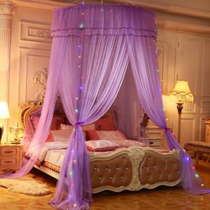 Luxo redonda Cama Mosquito Net Quarto Insect Prevent Dormir Cortina Dome Top Princesa Bed Canopy Net decorações de casamento central
