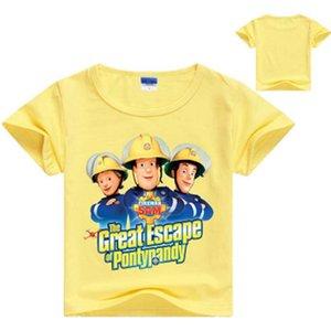 2020 Los niños de dibujos animados bombero Sam Impreso divertidos de la camiseta Kids Summer Tops bebés de los muchachos Gran camiseta ocasional