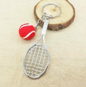 DHL Mini Tennis Keychain Sports Style Key Chains Zinc Alloy Keychains Car Keyring Kids Toy Novel Birthday Gift Party Favor NN