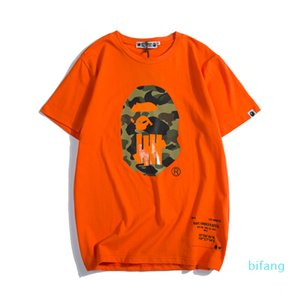 New Summer Lover Color Cartoon Printing Green Orange T-shirts Men's Casual Round Neck Short Sleeve T-shirtsfor 2020