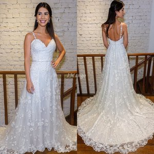 Charming Lace Wedding Dresses Spaghetti Straps Appliques Backless A-Line Country Beach Bridal Gowns Sweep Train Robe De Mariee