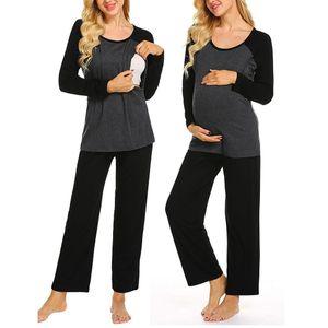 Women Maternity Long Sleeve Nursing Baby T-shirt Tops+Pants Pajamas Set Suit Fashion New