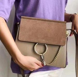 New Classic Ladys Suede Cadeia Handbag do anel círculo Bolsas de Ombro Mulheres Flap Cadeia Bag Crossbody Bag Lady Bolsas Mensageiro Bolsa