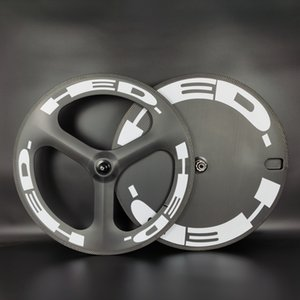 HED 700C 탄소 바퀴는 앞 뒤 디스크 휠 트랙 / 도로 자전거를 트라이 스포크 바퀴 3K 능 무광택 처리 클린 / 관형 탄소 바퀴