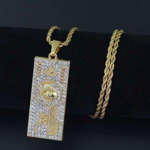 хип-хоп 100 долларов бриллианты кулон ожерелья для мужчин сплава деньги американский доллар США роскошные ожерелья кубинские цепи ювелирные изделия