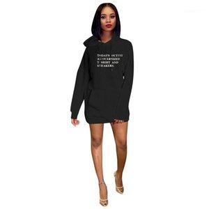 Abbigliamento Donna Lettera Stampa Womens Casual Con Cappuccio Abiti Moda Pannelli Grande Tasca Delle Donne Con Cappuccio Abiti Designer