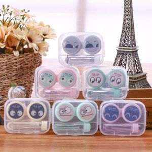 Plastique Lentilles de contact Cartoon Pet Imprimé récipient transparent poche pour Lentilles de contact Porte Makeup Case GGA2701