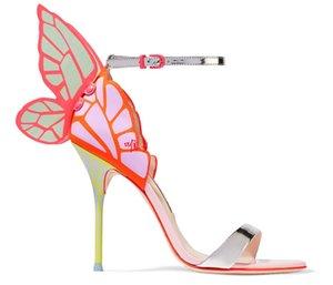 Ücretsiz kargo 2019 Yeni stil Bayanlar rugan seksi yüksek topuk 3D kelebek Baskı Sophia Webster burnu açık SANDALS renkli AYAKKABILAR 34-42