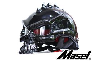 hxlmotostore- Masei 14 renk 489 Çift Kullanımlı Kafatası Motosiklet Kaskı Capacete Kasko Yenilik Casque Motosiklet Yarım Yüz Kask ücretsiz gönderim