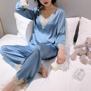 2ST Pyjamas Set Women Casual Lace Patchwork ShirtPants Silky Satin-Pyjamas Bademantel Intimate Wäsche-reizvolle Kimono-Robe-Kleid