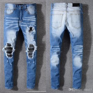 2020 Men jeans AMIRI brand jeans mens casual hole shorts washed old patch pants TOP quality embroidery denim pants feet pants men brand pan