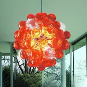 Modern Crystal Chandelier Orange Designer Glass Bubble Chain Pendant Light LED E27 Bedroom Furniture Stained Glass Dining Room Lamps