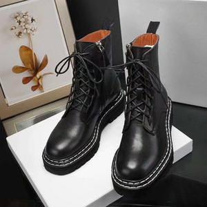 حذاء جلدي حار بيع المرأة الرباط حتى الشريط مشبك معدني لحزام الأحذية في الكاحل المصنع مباشرة الإناث منخفض الكعب جولة رئيس خريف شتاء