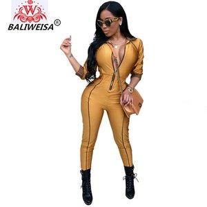 BALIWEISA Mezze maniche Moda Tute Per le donne Bodycon Casual Tute Vestido Zipper con scollo a V Elegante donna Slim