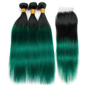 Verde escuro Ombre Cabelo Humano Indiano Reta 3 Pacotes com Fecho 4 Pcs Lote # 1B / Verde Raízes Negras Ombre Weave Bundles com Fecho de Renda 4x4