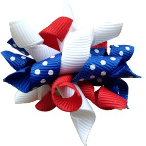 50pcs New Pet Puppy Dog Cat Hair Bows 4th of July July 4th Ribbon Wihte Red Blue Hair Bows Pet Grooming Hair Accessory Products