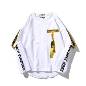 Le magliette calde del progettista di vendita-mens Maglietta lunga del manicotto di Highstreet del nastro di stampa del cotone che versa i hommes trasporto libero all'ingrosso