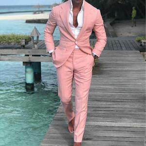 الساحرة قطعتين الوردي زر واحد الرجال حفلة موسيقية الدعاوى حقق التلبيب رفقاء العريس الزفاف البدلات الرسمية بدلة (سترة + بنطلون)
