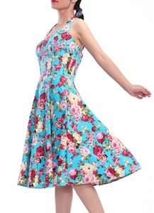 New Summer Print Floral Dress Plus Size for Women Halter V Neck Sleeveless Cotton Bohemian Dresses Beach Midi Female Wrap Long Swing Dress