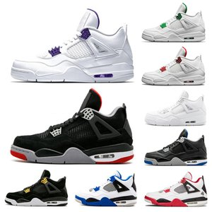 retro 4 QS Katrina hombres Zapatillas de baloncesto Tinker Corea Blanco puro Negro Cemento International Flight Free Throw Line Mens Sports Sneakers us 8-13