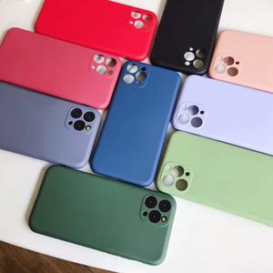 Ultra sottile Liquid Silicone obiettivo di macchina fotografica di caso di protezione per iPhone Pro 11 Max 11 6.1 Smooth Soft Cover Phone