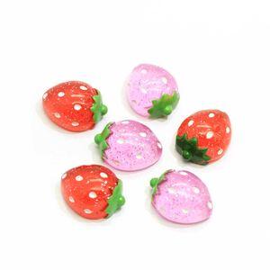 Großhandel Resin Glitter Strawberry Cabochons Plastic Flatback Erdbeere Cabochon Rot Rosa-Erdbeere-Frucht Slime Charms