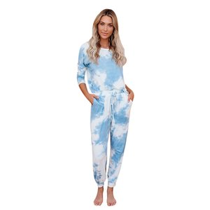 Loose Tracksuits Lounge Wear Women Casual Two Piece Set Autumn Street T-shirt Tops and Jogger Home Suit Light Blue