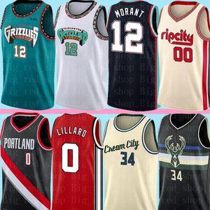 NCAA 12 Ja Morant Damian 0 Lillard Carmelo 00 Anthony Jersey Giannis 34 Antetokounmpo Camisetas de baloncesto S-XXL Hombres