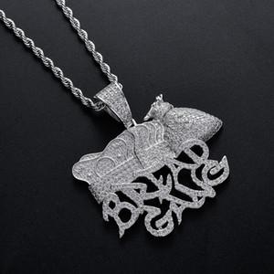 Hip mayor pendiente-Pan Gang, Bolsa de dinero Corona Hombres laboratorio completo collar de diamante chapado en oro Hop cobre Jewelly