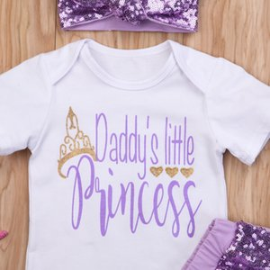 3Pcs Baby Girls Clothing Daddys Princess Infant Short sleeve Romper Jumpsuits Tops+Sequins Shorts Pants Outfits Clothes Set 0-2T