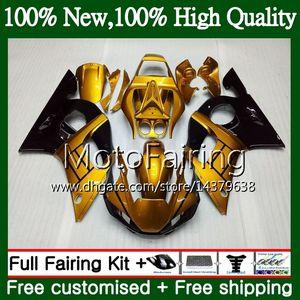 Kit per YAMAHA YZF R6 98 YZF600 YZFR6 98 99 00 01 02 88MF22 YZF 600 oro nero YZF-R600 YZF-R6 1998 1999 2000 2001 2002 Carenatura Carrozzeria