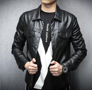 Mens Punk PU Leather Jackets Man Spring Autumn Lapel Neck Pocket Button Faux Leathers Men Fashion Cool Outwears