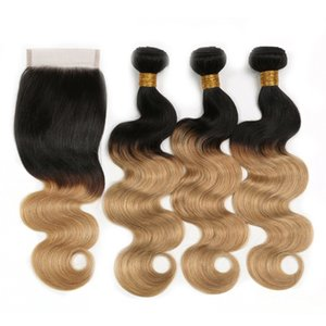 China ombre human hair bundles with closure 1b 27 body wave hair extension hair weave for sale