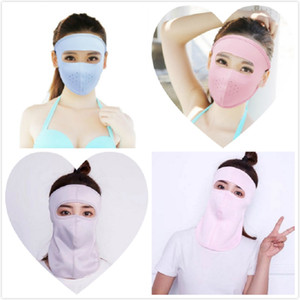 Ice Silk Sunscreen Mask Neck Mask Female Summer Hanging Ear Scarf Cool Absorb Sweat Riding Face Mask