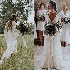 2020 Bohemian Ülke Gelinlik V Yaka Uzun Kollu Aplikler Dantel Backless Plaj Boho Sahil Gelinlik elbise de mariée Artı boyutu
