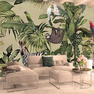 Custom 3D Photo Wallpaper Tropical Rain Forest Bird Palm Leaves Living Room TV Background Wall Mural Non-woven Murals