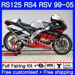 RS125R لـ Aprilia RS 125 1999 2000 2001 2002 2003 2005 318HM.0 RSV125R RS4 RS-125 RSV125 R RS125 99 00 01 02 03 04 05 Fairing Black فضي