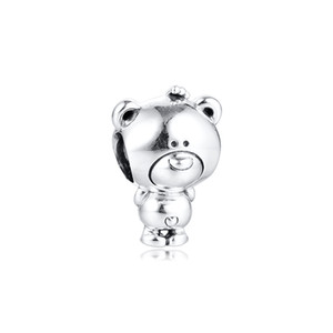 Perles d'argent Theo Bear Charm Charmant animal Sterling-Silver-Bijoux Perle Convient aux bracelets de Pandora Bracelets Bracelets Charms originaux
