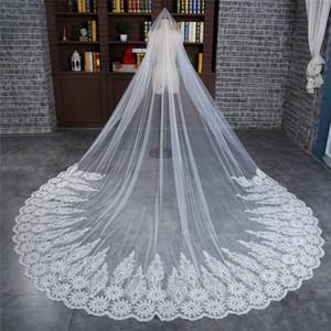 Роскошные длинные свадебные вуалии с бисером Crystal Ivory Bridla Veils Свадебные аксессуары с расчесской 2019 Новый
