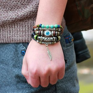Fashion High Quality Blue Eye Alloy Leaf Multilayer Real Leather Knitting Charm Bracelets Vintage Beads Bracelets Jewelry