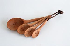 4 adet / takım Kayın ahşap ölçüm kaşık seti pişirme gereçler çay kahve araçları için mutfak Toptan SN187
