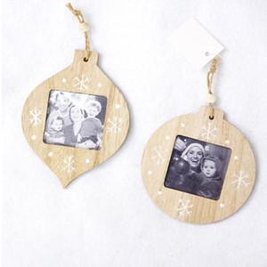 4PCS شكل الكرة الخشب إطار الصورة DIY عيد الميلاد إطار الصورة قلادة عيد الميلاد الديكور للمنزل # 11030