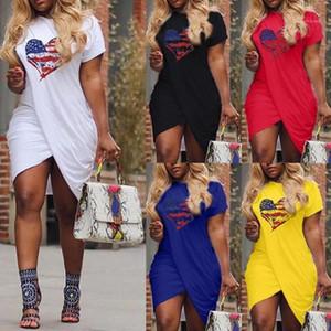 Elbise Tasarımcı AŞK Baskılı Çapraz Kısa Kollu Elbise Şeker Renk Artı boyutu Elbise Kadın Yaz Casual