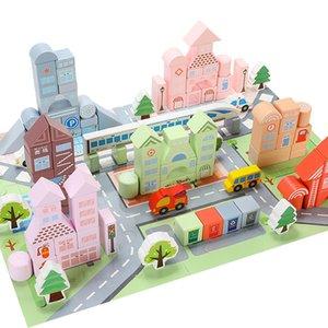 venda quente grande tamanho 176 pcs coloridos blocos de construção de madeira DIY brinquedos montessori educacional crianças brinquedo