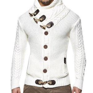 Laamei 망 2019 버클 스웨터 가디건 가을 겨울 패션 따뜻한 두꺼운 헤지 터틀넥 뜨개질 점퍼 스웨터 SH190903