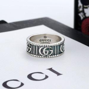 All'ingrosso di modo G raffinato e lussuoso di alta qualità in argento Gucci Stamp anello per le donne gli uomini di nozze gioielli con scatola 5647