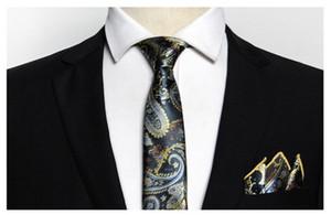 Vente en gros classique Paisely Cravate en soie Set Hanky Bow Tie jacquard cravate La cravate des hommes Ensemble avec coffrets cadeaux Business Party travail de mariage